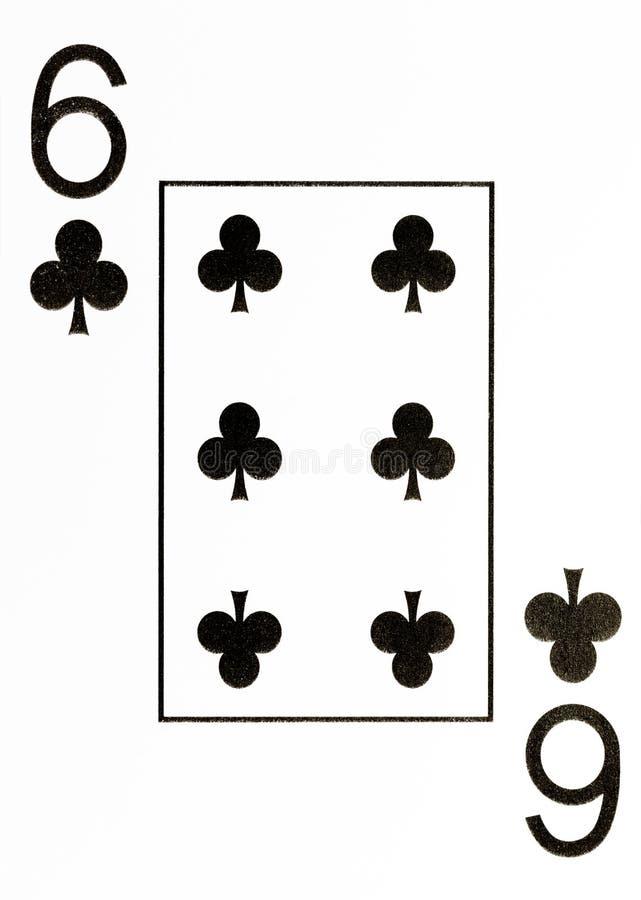 Wielki wskaźnika karta do gry 6 kluby obrazy royalty free