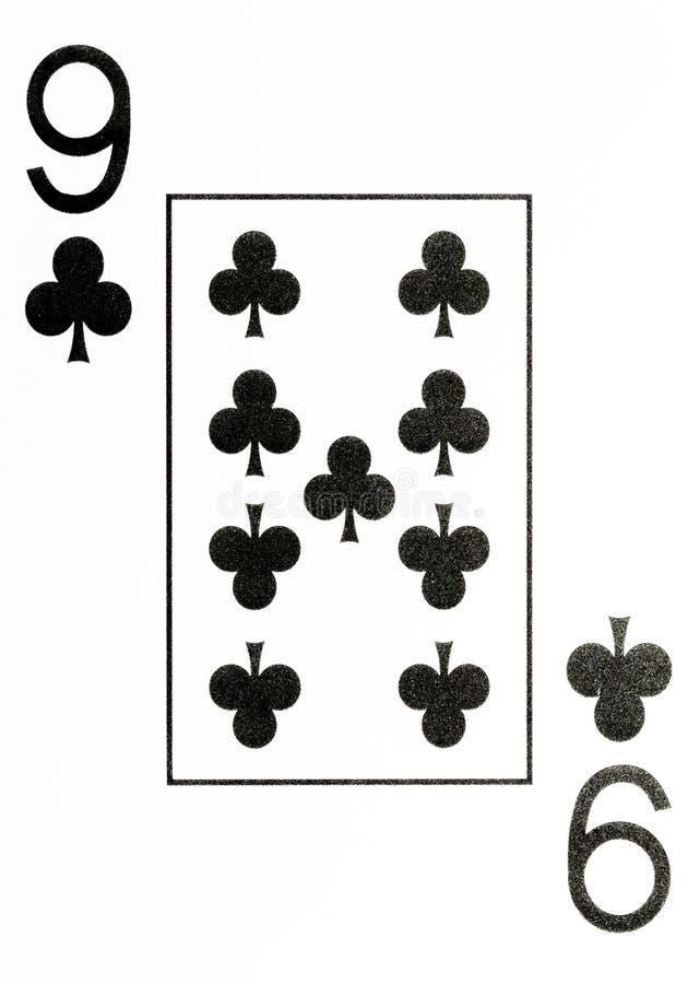 Wielki wskaźnika karta do gry 9 kluby ilustracja wektor
