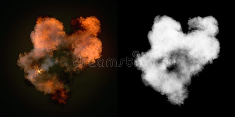 Wielki wybuch z czerń dymem w zmroku plus alfa kanał Odgórny widok świadczenia 3 d royalty ilustracja