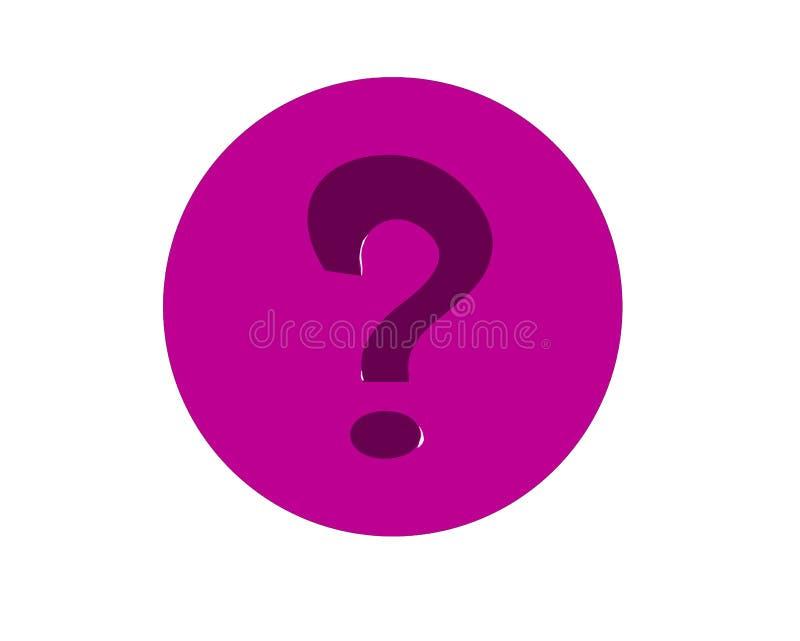 Wielki znak zapytania lokalizuje w centrum purpurowy okrąg royalty ilustracja