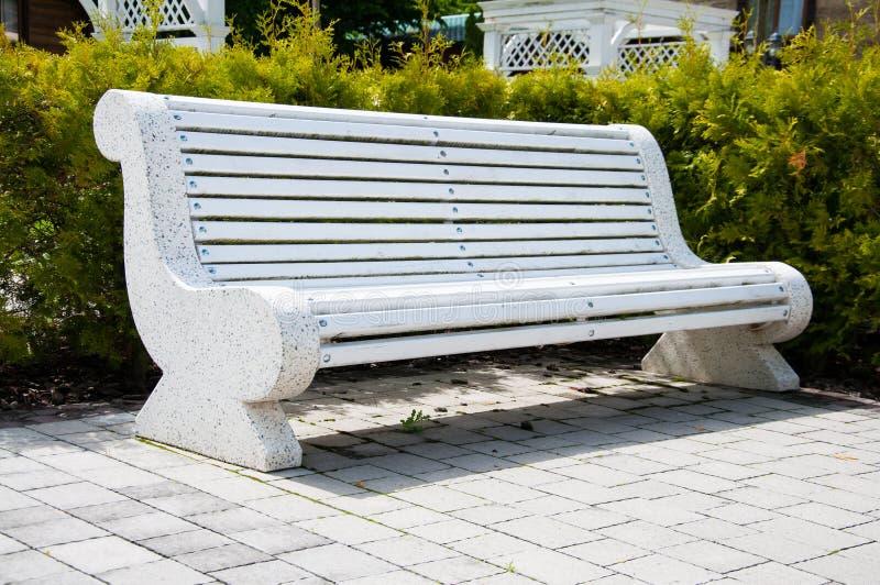 Wielkie betonowe ławki z drewnianymi elementami Blisko alei w parku Lato w jardzie drzewo pola obraz stock
