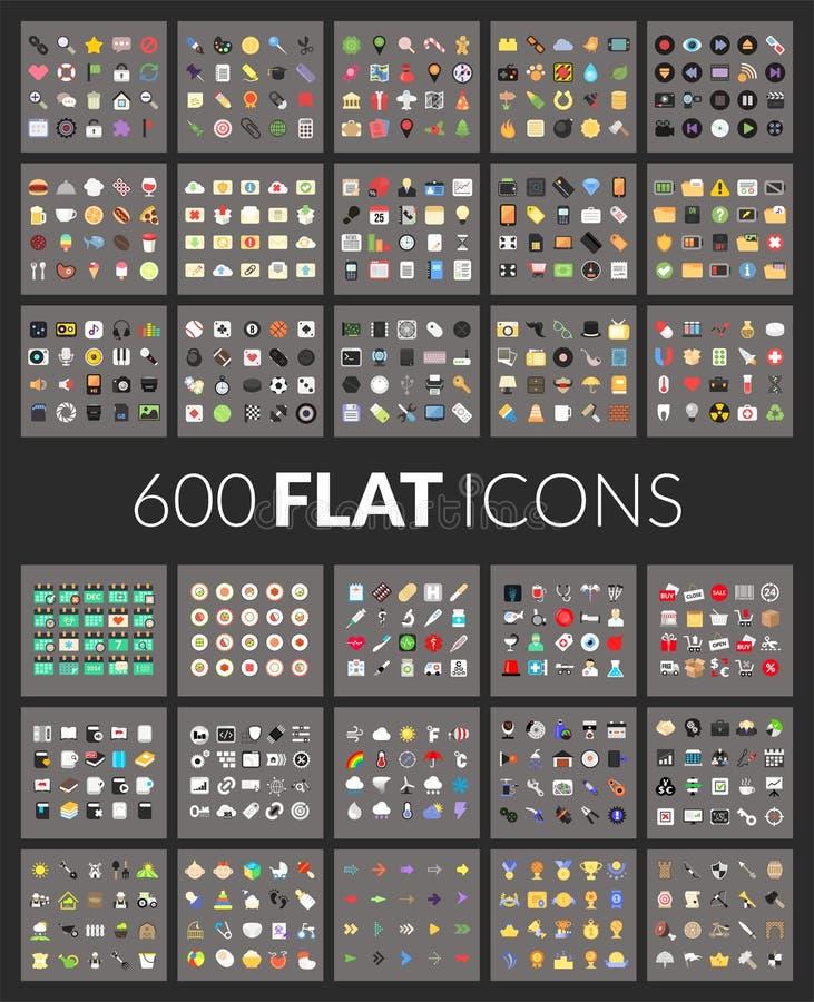 Wielkie ikony ustawiają, 600 wektorów piktogram mieszkanie royalty ilustracja
