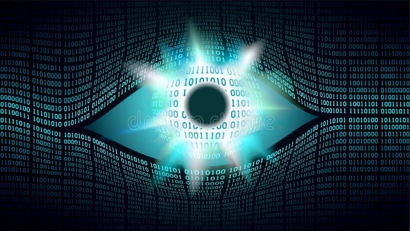 Wielkiego Brata oka elektroniczny pojęcie, technologie dla globalnej inwigilaci, ochrona systemy komputerowi ilustracja wektor