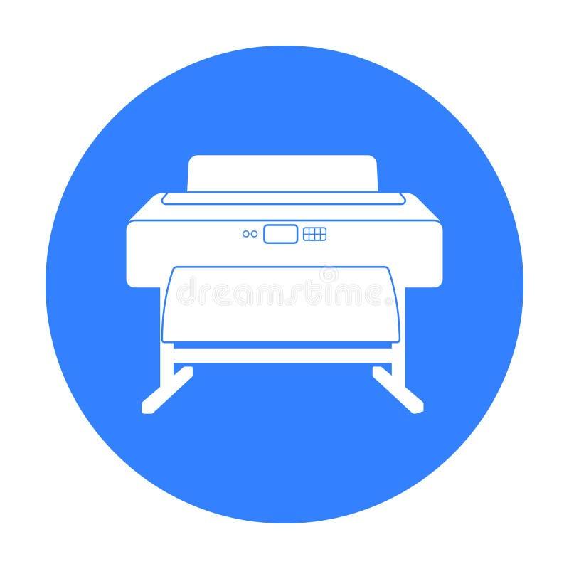 Wielkiego formata drukarki ikona w czerń stylu odizolowywającym na białym tle Typografia symbolu zapasu wektoru ilustracja ilustracja wektor