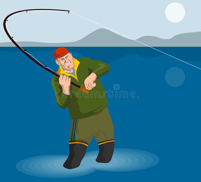 wielkiego kota wędkarski rybak ilustracja wektor