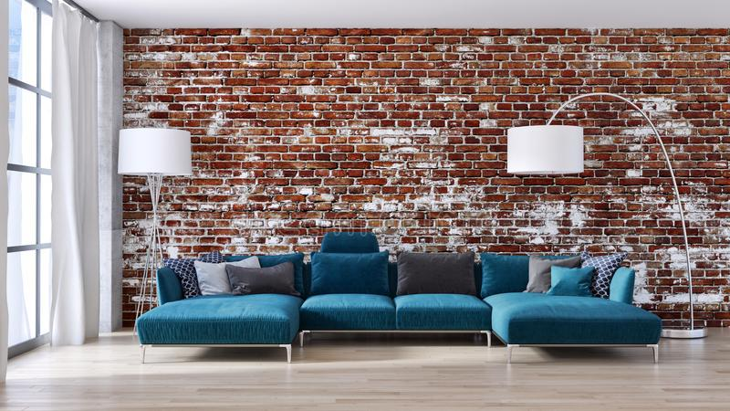 Wielkiego luksusowego nowożytnego jaskrawego wnętrza mieszkania Żywy izbowy illus ilustracja wektor