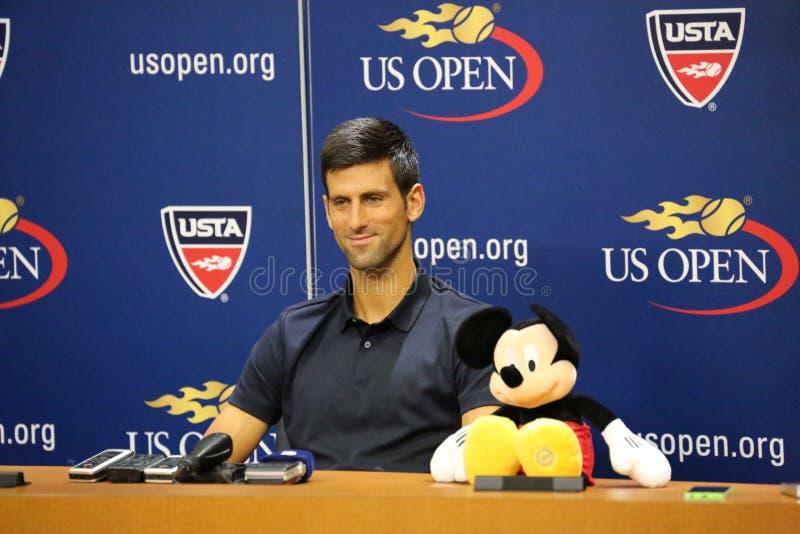 Wielkiego Szlema mistrz Novak Djokovic Serbia podczas konferenci prasowej obrazy stock