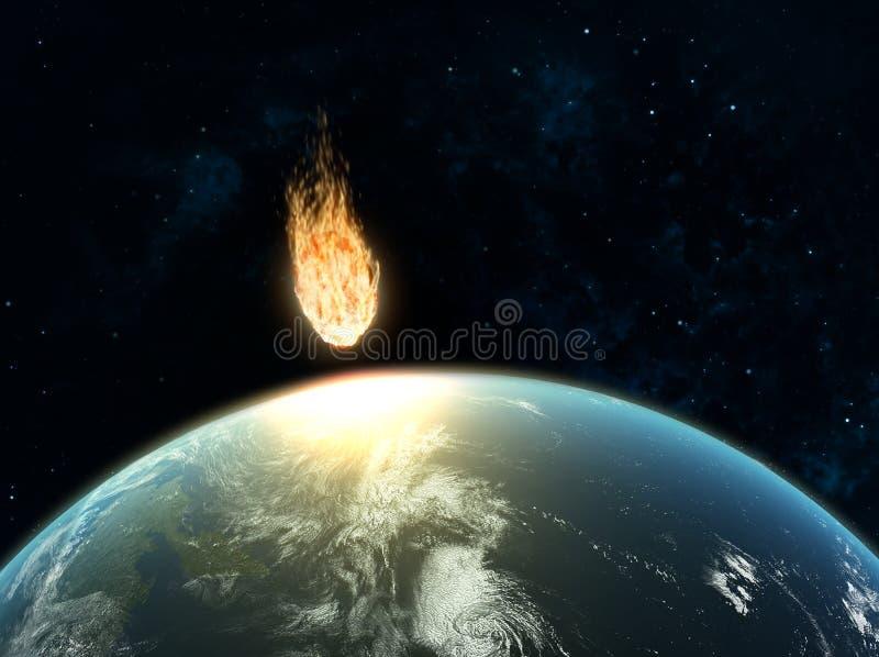 Wielkiej asteroidy hiting ziemia ilustracji