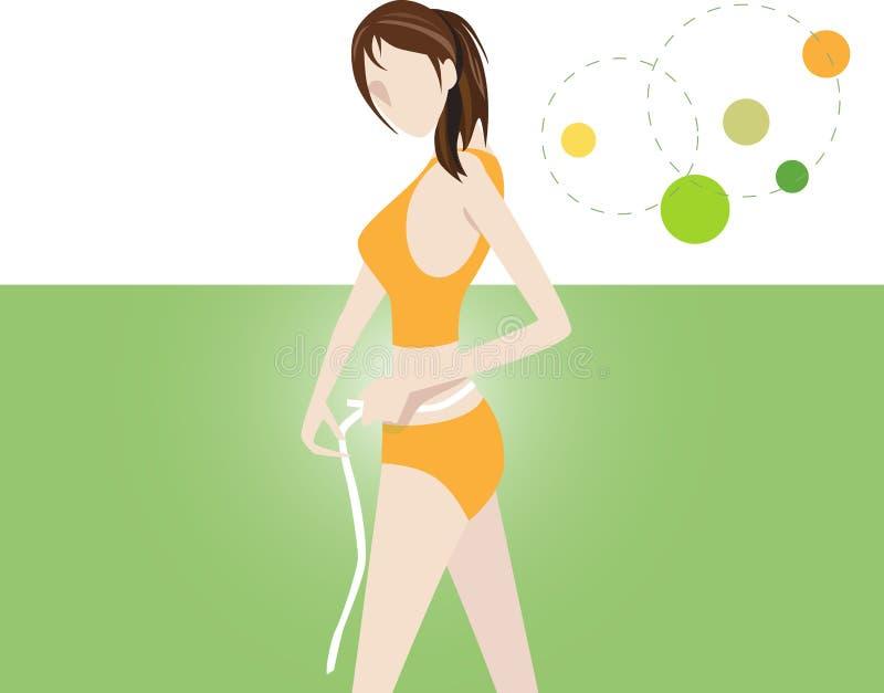 wielkości kobieta pomiarowa talii. ilustracja wektor