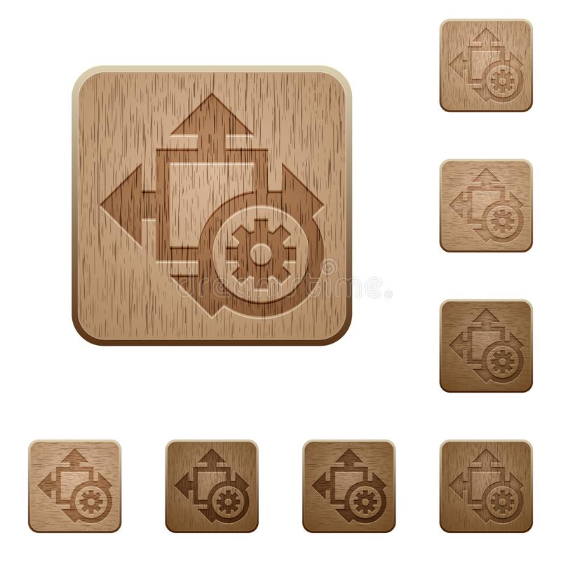 Wielkościowych położeń drewniani guziki royalty ilustracja