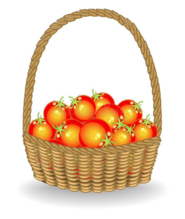 Wielkoduszny żniwo W łozinowego kosza pięknych świeżych pomidorach Warzywa s? bardzo smakowici i witaminy Ja jest konieczny dla ilustracji
