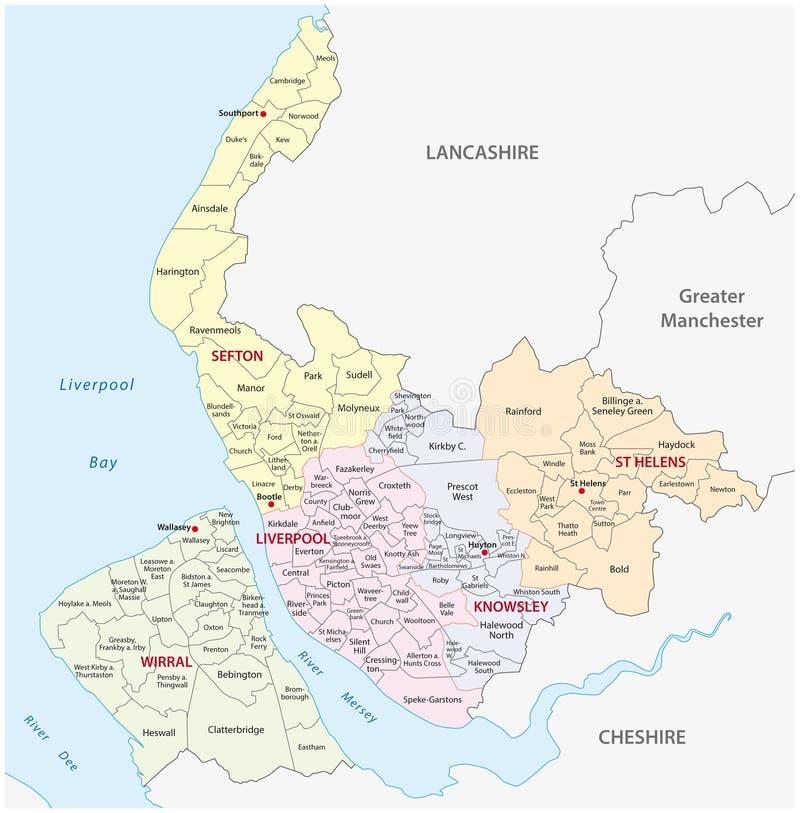 Wielkomiejska okręgu administracyjnego Merseyside mapa ilustracji