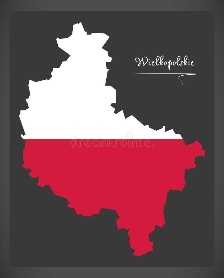 Wielkopolskie map of Poland with Polish national flag illustration. Wielkopolskie map of Poland with Polish national flag vector illustration