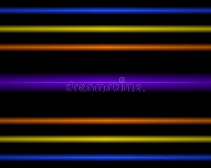 Wielo- Barwiona neonowego światła lampa. proste horyzontalne linie ilustracja wektor