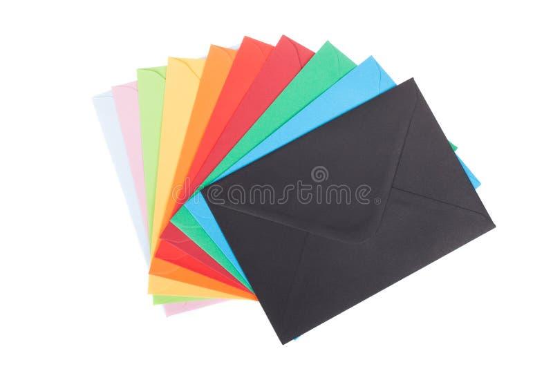 Wielo- barwione koperty, odosobnione na bielu zdjęcia royalty free