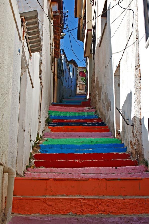 Wielo- barwioni malujący kroki fotografia stock