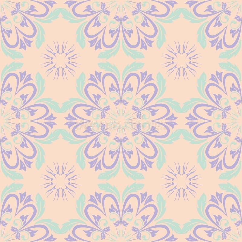 Wielo- barwiony kwiecisty bezszwowy wzór Beżowy tło z fiołkowymi i błękitnymi kwiatów elementami ilustracja wektor