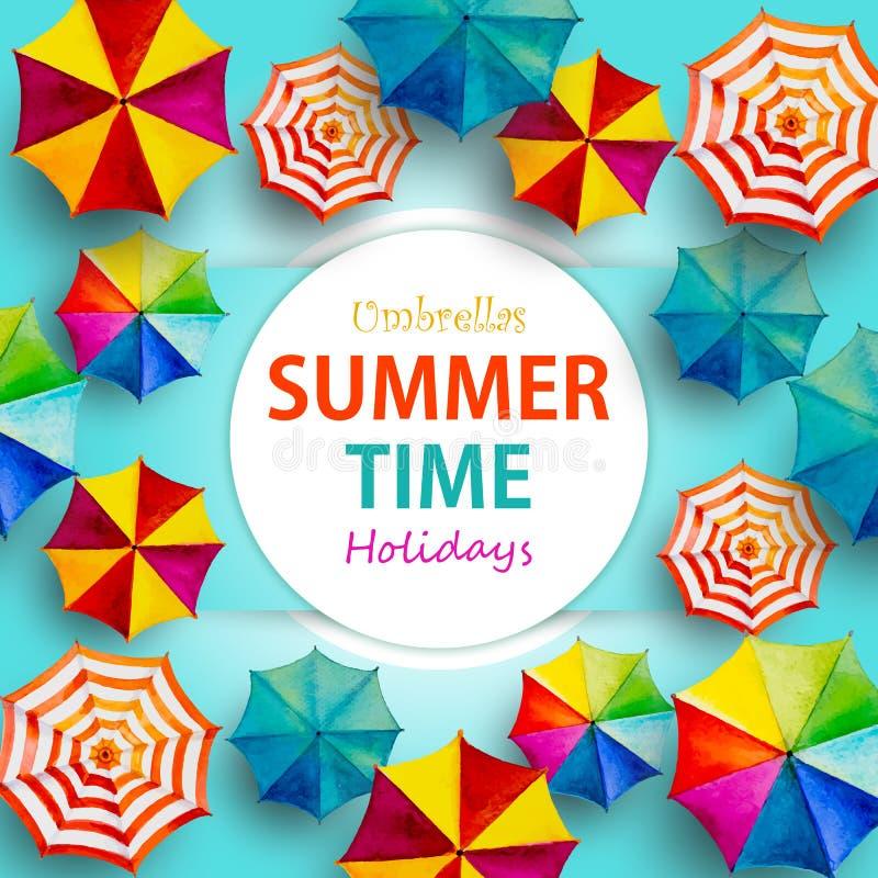Wielo- barwiony parasolowy odgórny widok kolorowy lato ilustracji
