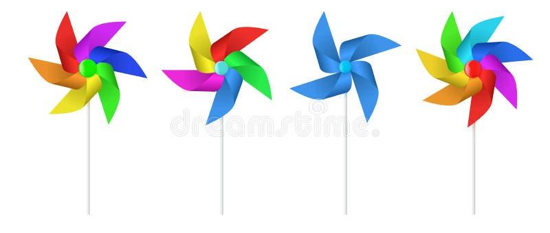 Wielo- barwiony zabawka papieru wiatraczka śmigło royalty ilustracja