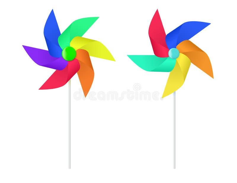 Wielo- barwiony zabawka papieru wiatraczka ?mig?o ilustracji