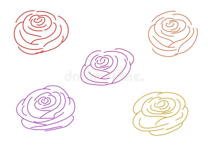 Wielo- colour róży kontury na białym tle ilustracji