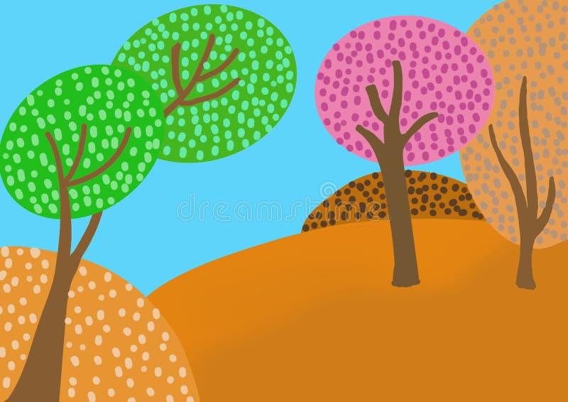 Wielo- coloured las z niebieskim niebem royalty ilustracja