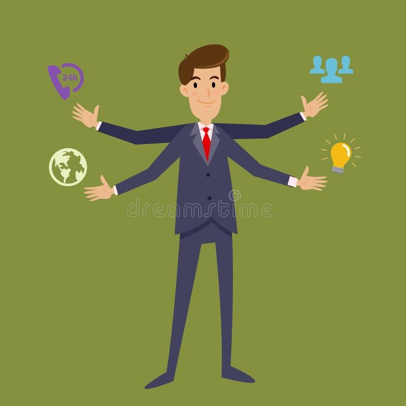 Wielo- Daje zadanie biznesmen Z Cztery rękami royalty ilustracja