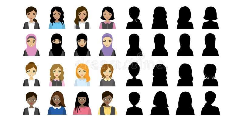 Wielo- Etniczni Żeńscy avatars i czarna sylwetka ilustracja wektor