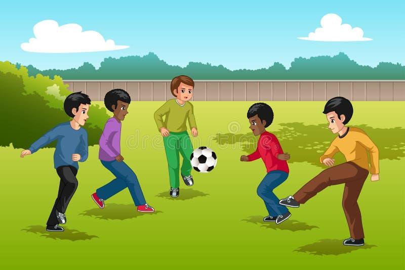 Wielo- grupa etnicza dzieciaki Bawić się piłki nożnej ilustrację ilustracji