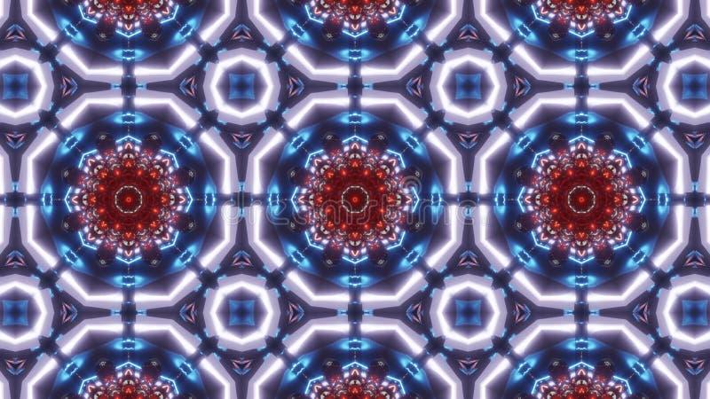 Wielo- koloru kalejdoskopu wzór ornament z z bardzo ładną czerwienią ilustracja wektor
