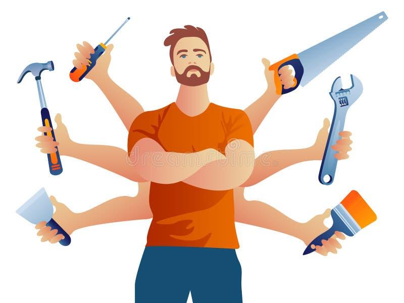 Wielo- orężny budowniczego repairman z 6 różnymi narzędziami ilustracji