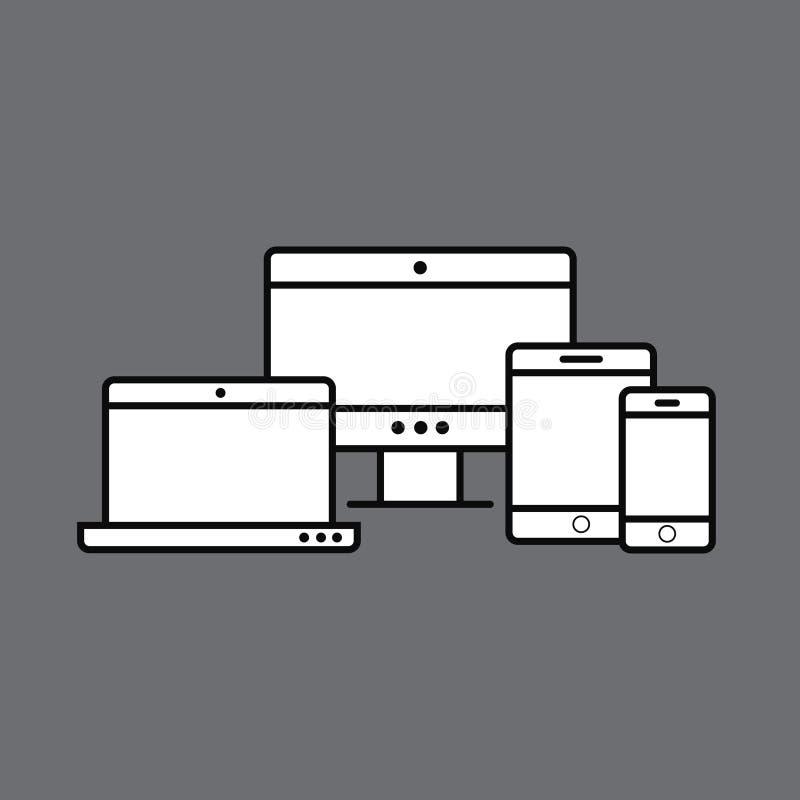 Wielo- przyrząd ikony: smartphone, pastylki, laptopu i desktop compu, royalty ilustracja