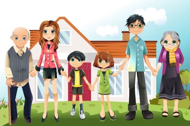 wielo- rodzinny pokolenie ilustracji