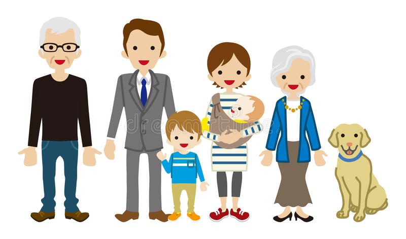 wielo- rodzinny pokolenie ilustracja wektor