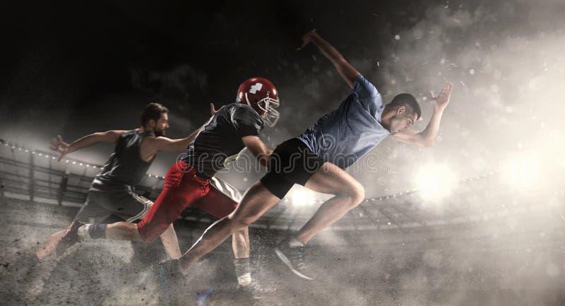 Wielo- sporta kolaż o koszykówce, bieg, futbol amerykański gracze przy stadium fotografia stock