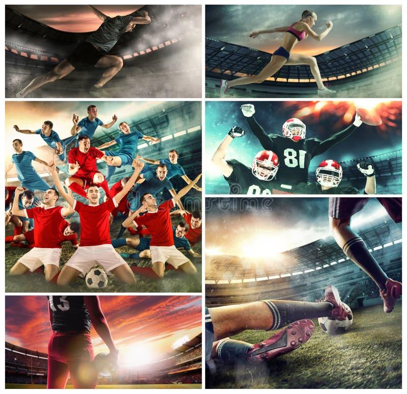 Wielo- sporta kolaż o koszykówce, futbol amerykański graczach i dysponowanej działającej kobiecie, obraz royalty free