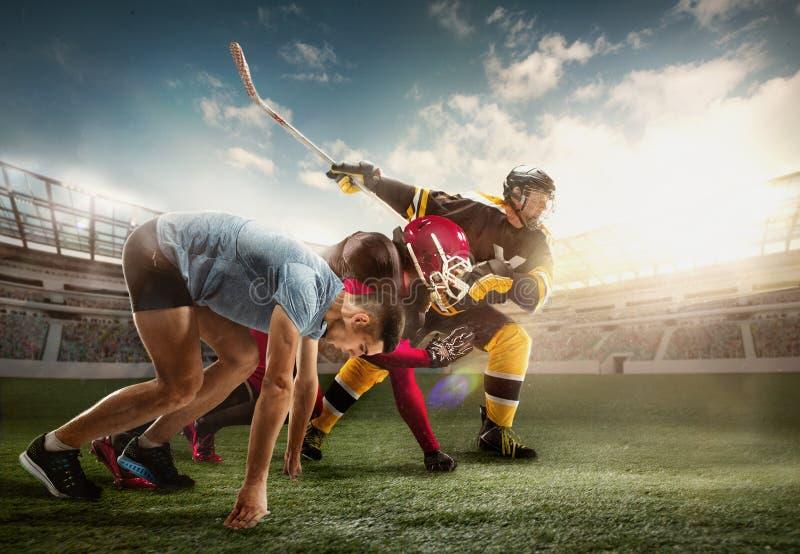 Wielo- sporta kolaż o Lodowym hokeju, bieg, futbol amerykański gracze przy stadium obrazy stock