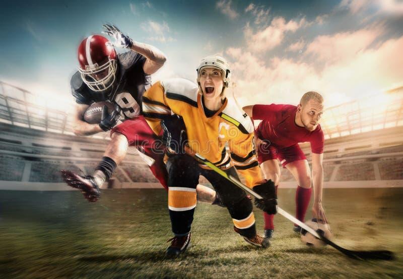 Wielo- sporta kolaż o lodowym hokeju, piłce nożnej i futbol amerykański graczach przy stadium, obrazy stock