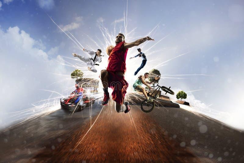 Wielo- sporta kolażu koszykówki bmx batuta karting karate zdjęcie stock