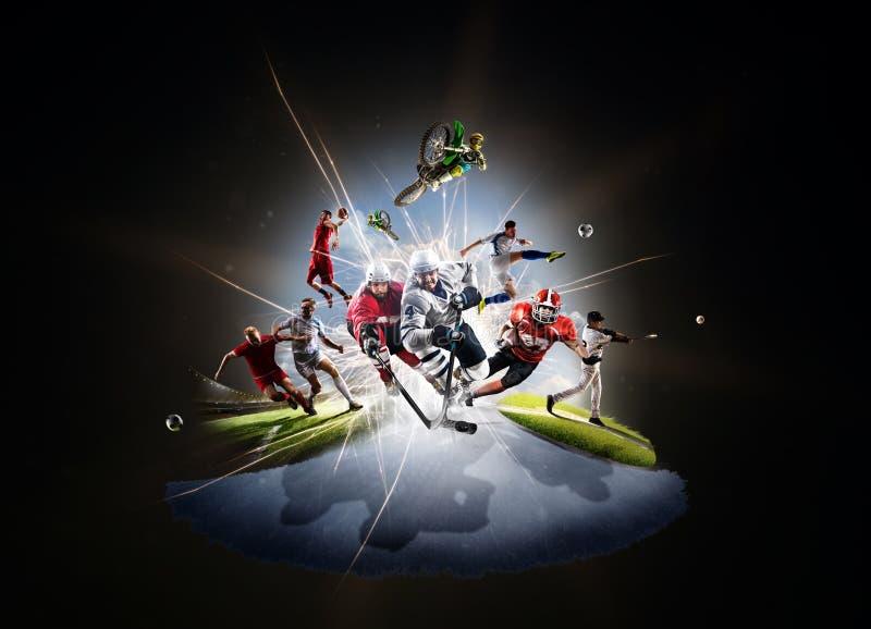 Wielo- sporta kolażu piłki nożnej koszykówki baseballa brudu hokejowy footbal rower obrazy stock