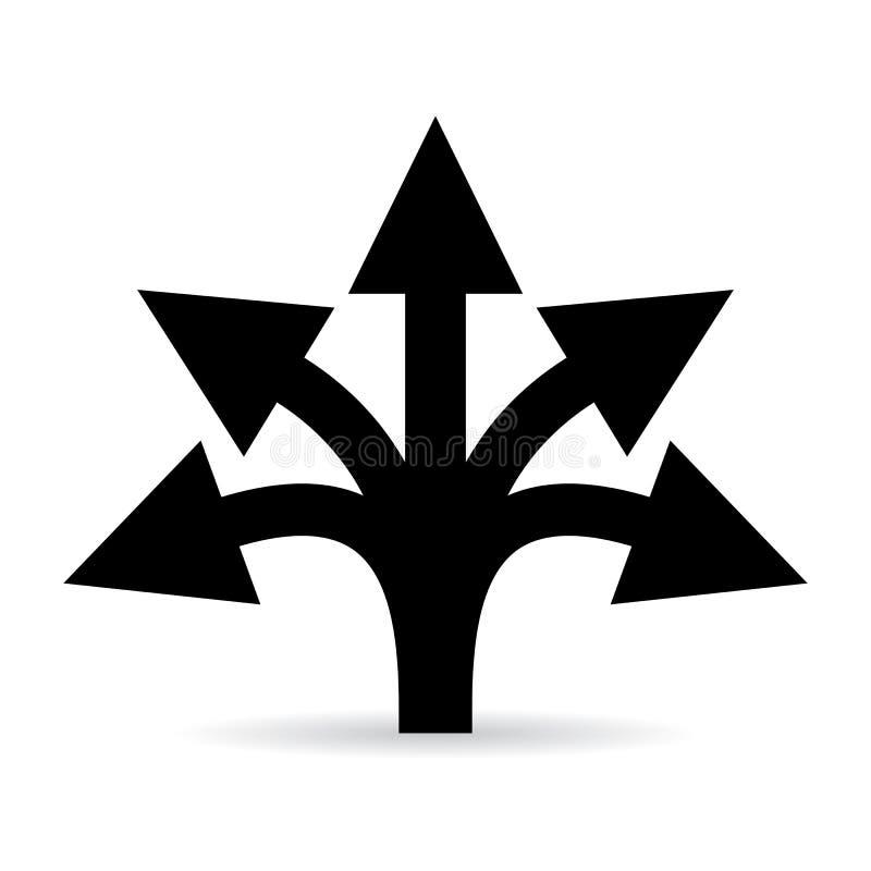 Wielo- wyborowa drogowa strzałkowata wektorowa ikona ilustracji