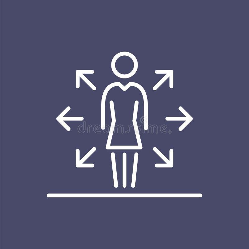 Wielo- zadanie kobiety pracodawcy ikony prostej kreskowej płaskiej ilustraci ludzie biznesu ilustracji