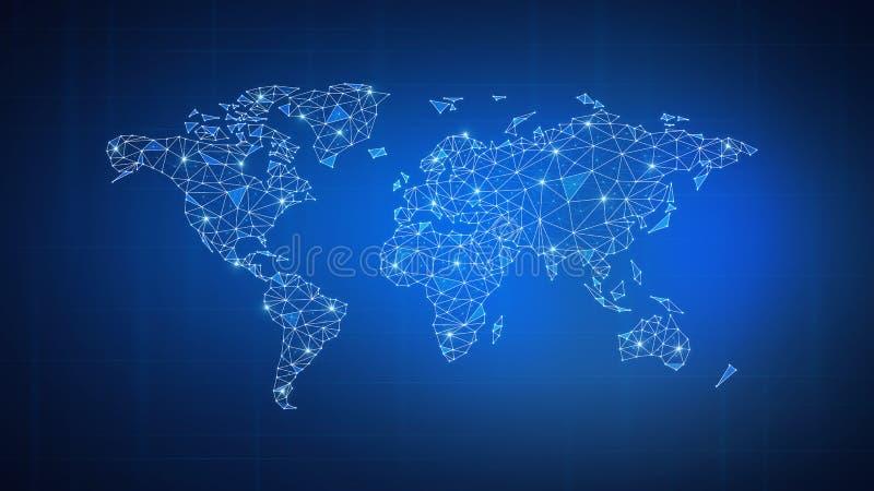 Wielobok światowa mapa na blockchain hud sztandarze ilustracja wektor