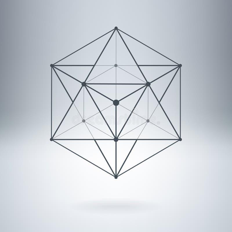 Wielobok z związanymi liniami i kropkami ilustracja wektor