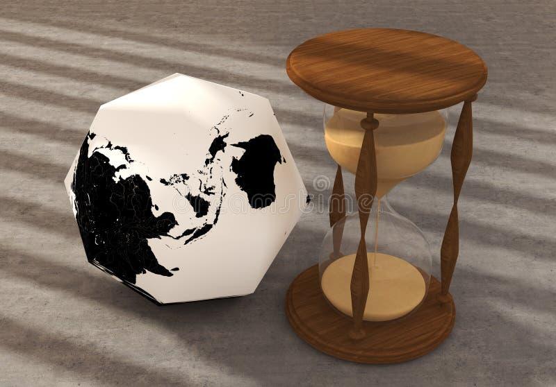 Wielobok ziemia z zegarem obrazy royalty free