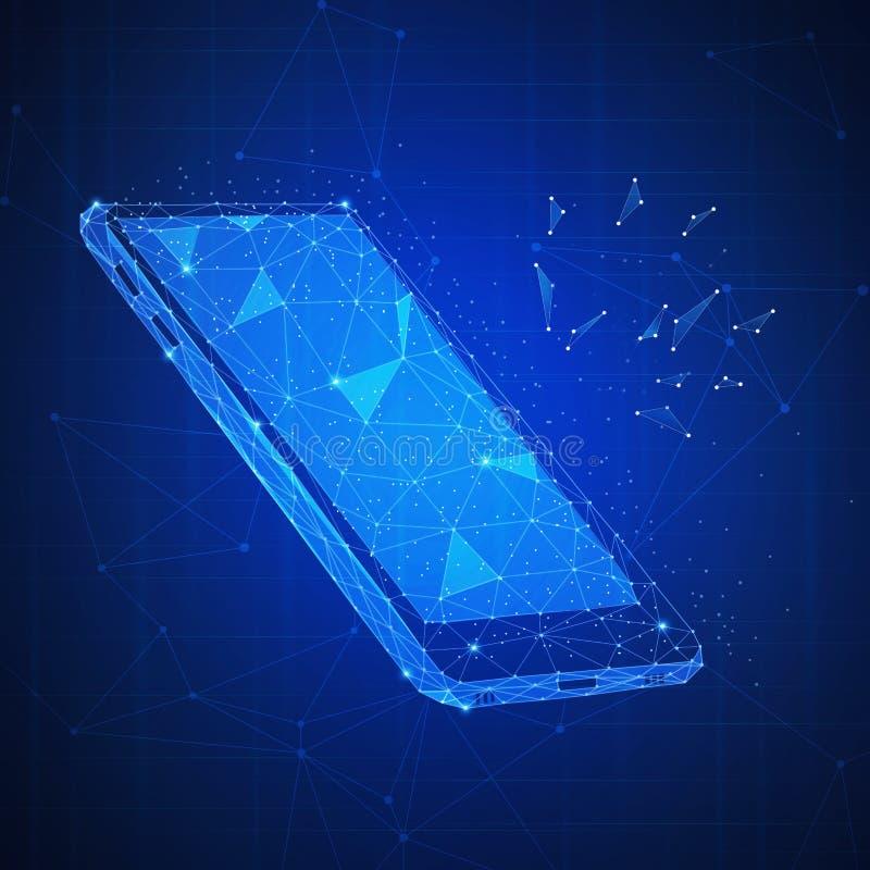 Wieloboka 3d smartphone na blockchain hud sztandarze royalty ilustracja