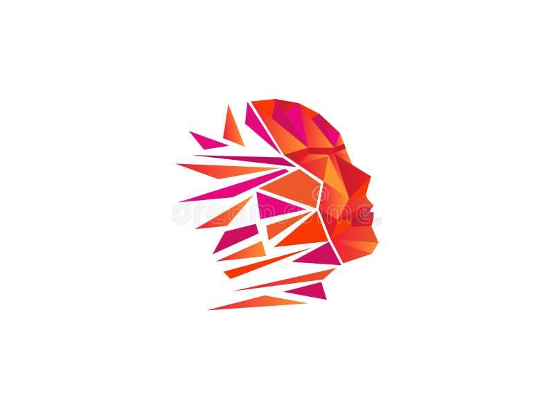 Wieloboka mężczyzny głowa dla logo projekta ilustracji ilustracja wektor