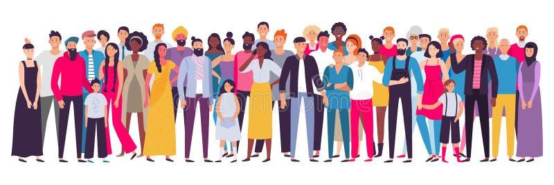 Wieloetniczna grupa ludzi Społeczeństwo, wielokulturowy społeczność portret i mieszkanowie, Potomstwa, dorosły i starzy ludzie, royalty ilustracja