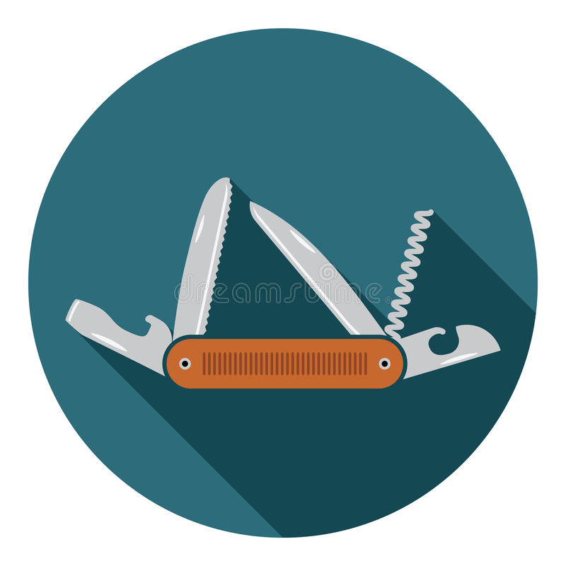 Wielofunkcyjna kieszeniowego noża ikona Płaski projekt wycieczkuje i obozuje wyposażenia narzędzie, wektorowa ilustracja z długim royalty ilustracja