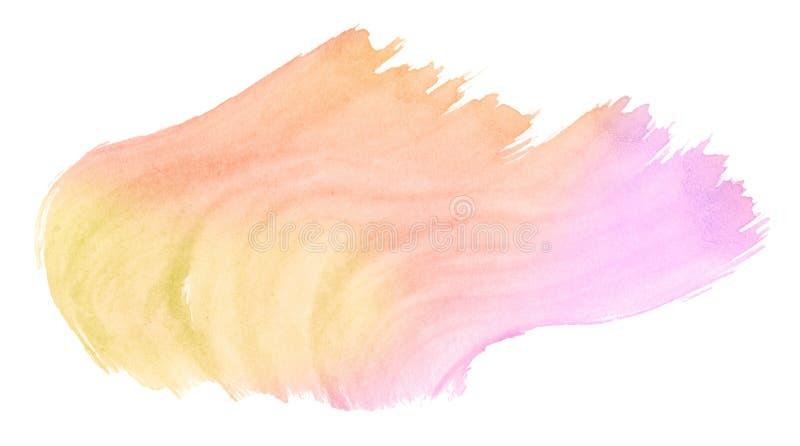 Wielokolorowe barwy akwarelowe w kolorach pastelowych z naturalnymi plamami na papierze Pojedyncza rama narysowana ręcznie do pro ilustracja wektor